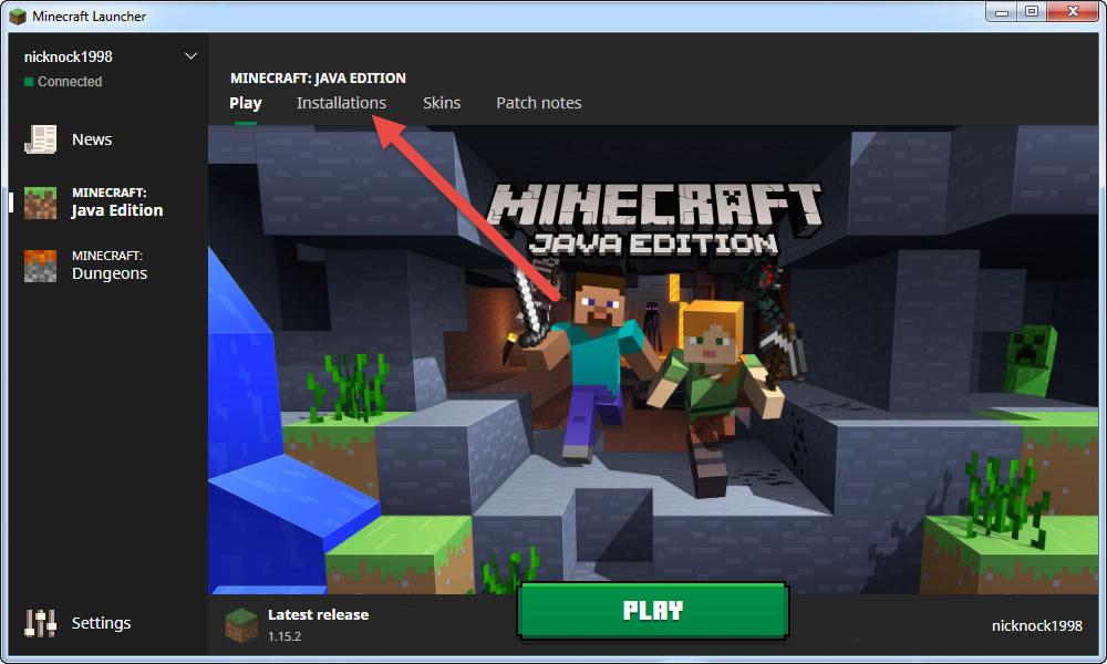 2 - click Minecraft installations tab