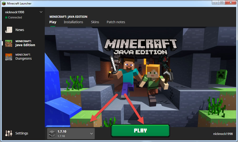 6 - Select Minecraft version and hit play