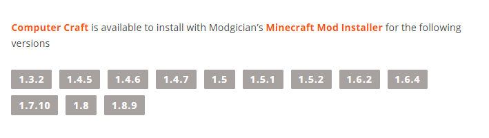 Computer Craft mod available Minecraft versions