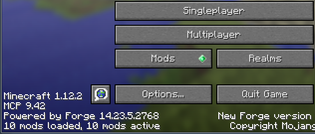 Minecraft with mods successfully installed